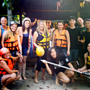 Leslie ONeill and friends after swift water rafting in Thailand