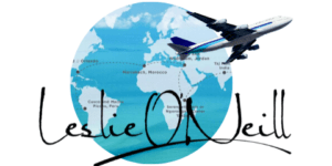 Leslie ONeill world globe and airplane logo